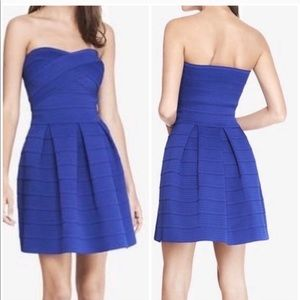 Express Bandage Fit and Flare Dress Blue